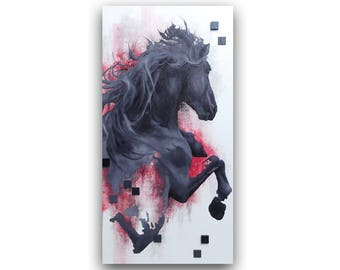 ANIMAL HORSE PAINTING on canvas //18''x36''// contemporary oil art modern equestrian animal figurative