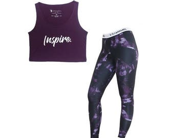 Purple Crush Leggings and Inspire Crop Tank Package -  Womens Workout Leggings, Fitness Clothing, Gym Tank, Workout Clothing, Workout Shirt