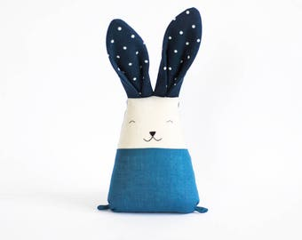 Blue bed time bunny plush, rabbit toy for boy, soft cuddle animal, toys for boys, first Easter baby boy, baby shower gift, kids nursery