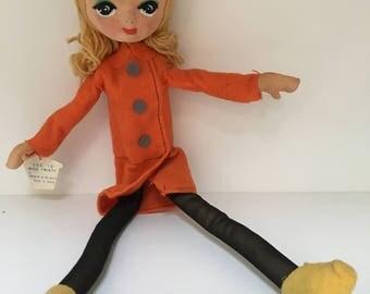 vintage Japanese Pose Doll,  Miss Twisty, #D2/1D, Big eyes, 13 inches, blonde hair, orange felt jacket, original tag, Japan 1960s