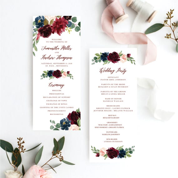 wedding programs wedding program marsala wedding program burgundy