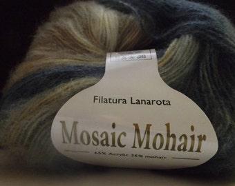 Filatura Lanarota Mosaic Mohair Colour #31293 Blues & Tans ~ 50 grams/ 215 yards ~ Knitting ~ Crochet