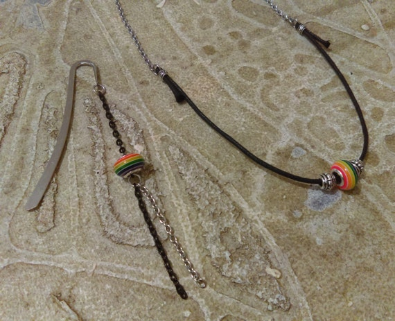Rainbow Bead Set Necklace Bookmark Stainless Chain Black Waxed Cotton Necklace Black Chain Tibetan Silver Beads Rainbow Pride