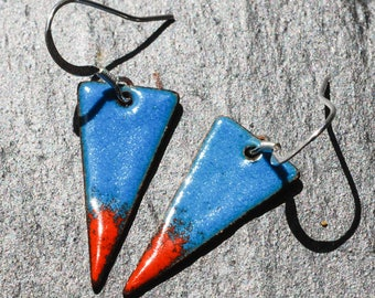 Triangular blue and orange copper and enamel earrings