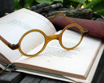 Antique spectacles delicate round reading frames glasses eyewear  antique glasses brown glasses collector piece  harry potter style