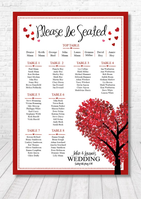 Red Heart Table Plan / Red Heart Seating Plan / Wedding Table Plan