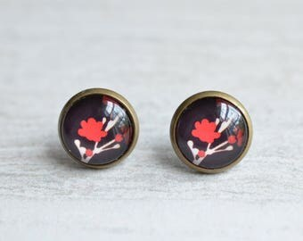 Asian Flowers - Red Black Flower Stud Earrings