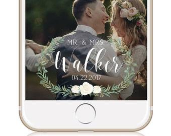 Greenery Wedding Snapchat Filter Custom Wedding Geofilter Elegant Snapchat Filter Mr & Mrs Snapchat Filter Spring Wedding Summer Wedding