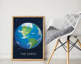 The earth print, earth print, earth wall art, Planet print, Space wall print, Nursery print, Nursery decor, Art for kids, Planets, The world