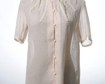 Vintage sheer Mandarin collar light pink blouse