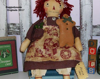Primitive Raggedy Ann Doll Christmas with Gingerbread man
