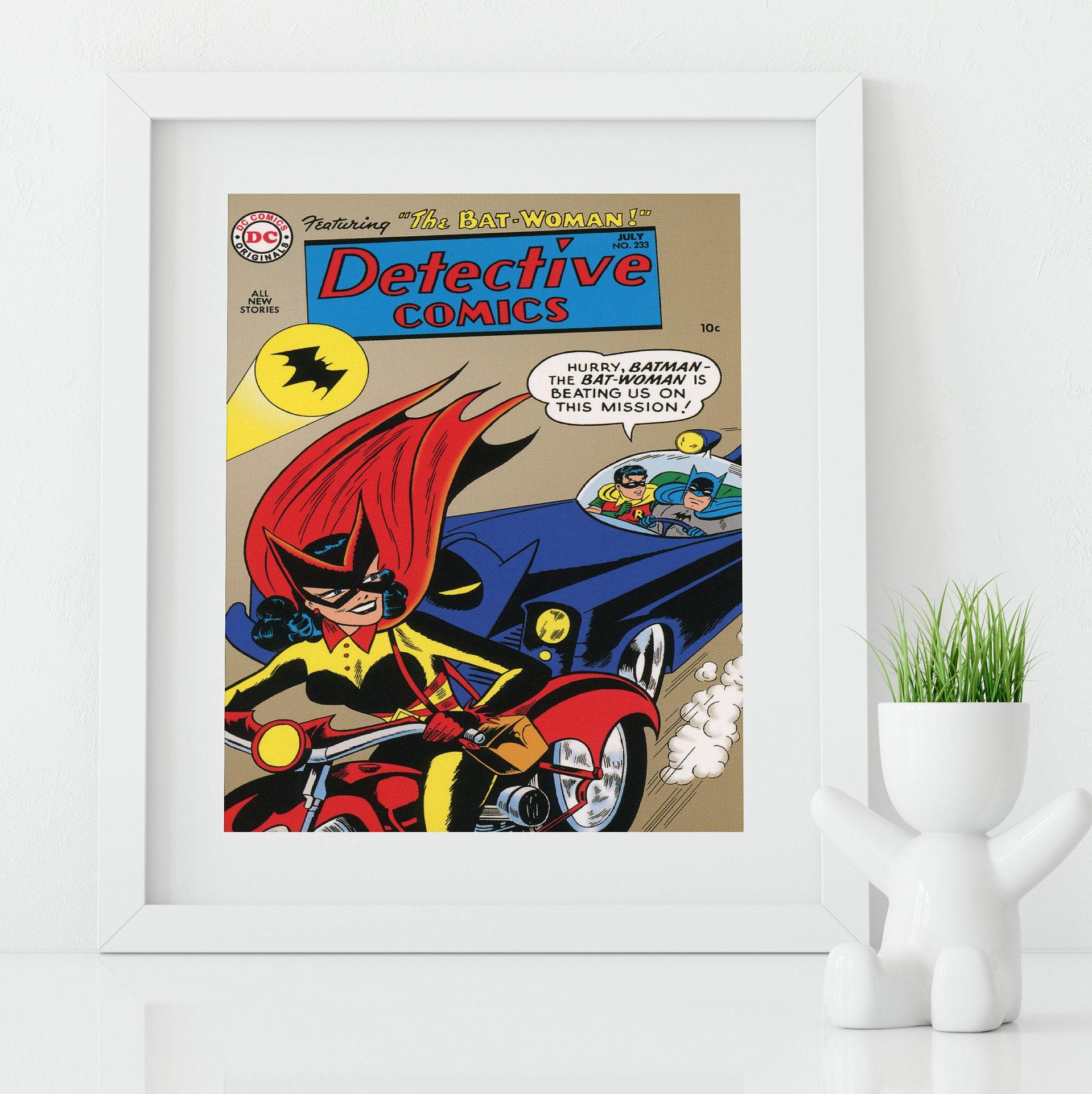 Framed Wall Art   Vintage Comic Book Cover   Batman Wall Art   Batwoman    Superhero Wall Art   Geeky Wall Art   Nerd Gifts