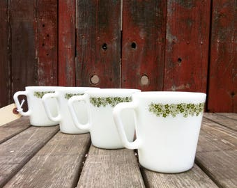 SET OF 4 Retro Pyrex Spring Blossom Coffee Mugs, Crazy Daisy, Coffee Cups, Coffee Mugs, Farmhouse Kitchen Decor, Country Cottage, Glass Cups