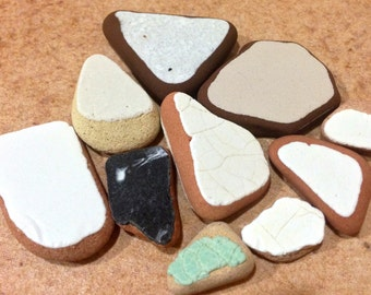 Sea Pottery Shards, Sea Ceramic, Beach Pottery, Tumbled Ceramic Tile, Pieces of Sea Pottery