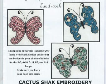 Retro Applique Butterflies: 12  machine embroidery applique on CD.