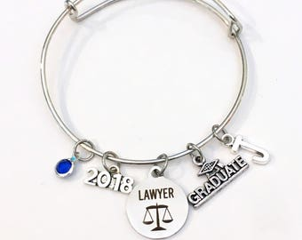 Law School Graduation Gift, 2017 2018 Lawyer Charm Bracelet, Passing the Bar Association Student Grad 2016 Silver Bangle Jewelry Graduate