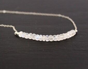Moonstone Necklace, white Gemstone Necklace, Bar Necklace, Moonstone Choker, White Necklace, Bridal Jewelry