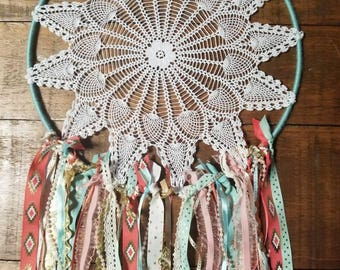 Mint, Gold, and Coral Dream catcher