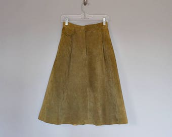 Vintage 70's khaki green suede high waist A-line midi skirt // Size XS / S
