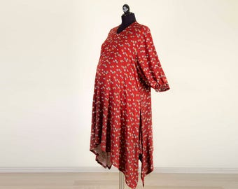 Loose dress ,maternity dress,tunic, little owls printed ,maroon,deep red