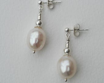 White Freshwater Pearl Drop Earrings - Sterling Silver and Ivory White Freshwater Pearl Drop Earrings