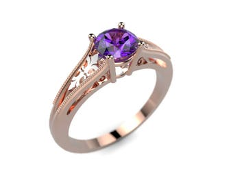 Amethyst Engagement Ring Rose Gold Amethyst Ring Rose Gold Engagement Ring Gemstone Engagement Ring Gemstone Ring February Birthstone