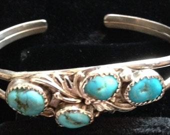 Vintage Modern Roger Nelson Navajo Artisan Kingman Mine AZ Turquoise Sterling Cuff Bracelet Marked Sterling R. SW United States Small Size