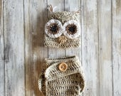 Owl Crochet Hat & Diaper Cover- Sold SEPARATELY Woodland Baby Shower, Newborn Costume, Woodland Themed Baby Decorations, Newborn Photography