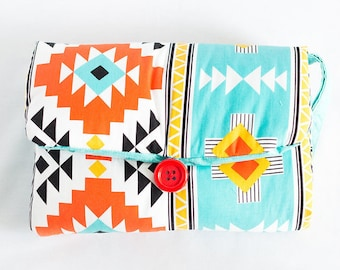 Aztec Western Coral Mint Navajo   Baby Travel Changing Pad, Diaper Mat, Baby Shower Gift