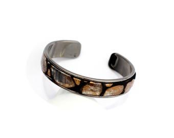 Woman Bangle Bracelet / gunmetal / Bronze pattern leather