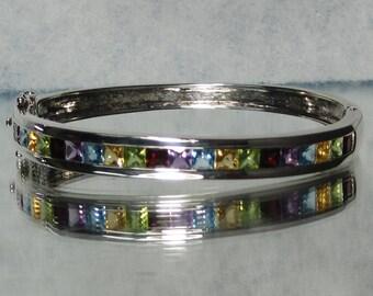 Vintage Sterling Silver Gemstone Bracelet M114