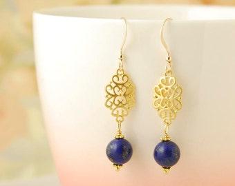 Lapis Lazuli Earrings Gold Filigree Earrings Blue Lapis Earrings Gemstone Dangle Earrings Lapis Lazuli Jewelry Gift For Her