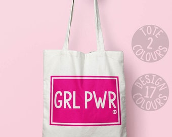 GRL PWR eco tote bag, book bag, gift for teen girl, birthday gift for best friend, strong woman, feel better, fight like a girl, rights