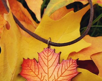 Wooden Maple Leaf Necklace / Engraved Wood Fall Colored Maple Leaf With Suede Cord And Bronze Lobster Clasp