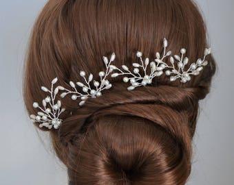 Set of bridal hair pins, pearl hair pins, gold or silver hair pins, wedding hairpiece, bridal headpiece, bridesmaid hair pins,hair accessory