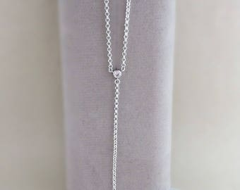 Silver Lariat Necklace, y shaped necklace, Lariat necklace, bridal necklace, glass gemstone