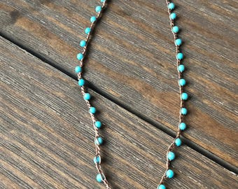 Crochet Beaded Boho Necklace •• Turquoise colored beads with red bell pendant