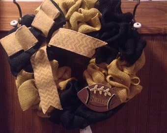 Burlap Wreath yellow and black burlap; Pittsburgh Steelers Football wreath