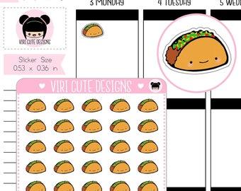 Taco Planner Stickers | Kawaii | Hand drawn | Tacos | Taco Night | Meal | Food | Stickers | Cute | Planning | Viri Cute Designs | 121