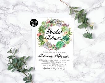 Bridal Shower Invitation | Succulents | Spring Summer | Green Purple | Floral Wreath | Kraft | Printable/Digital