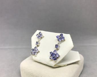 10K White Gold Natural Tanzanite (1.54 ct) Earrings, Appraised 789 USD
