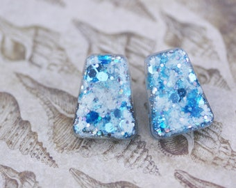 Blue  and White Tortoise Shell Perfect Pinup Earrings - Mad Men Style Earrings - Retro Earrings - One of a Kind Sparkle Earrings