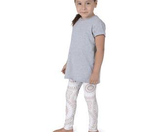 Girls Boho Clothes, White and Beige Mandala Yoga Leggings for Kids, Children's Yoga Pants