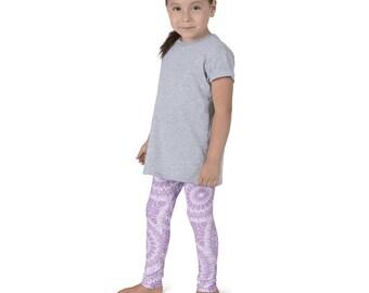 Lilac Leggings for Girls, Lavender and White Kids Yoga Leggings, Children's Printed Leggings