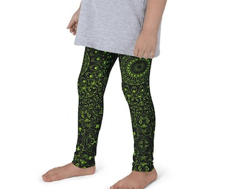 Kids Leggings, Green and Black Leggings for Girls, Children's Printed Yoga Pants, Chartreuse Mandala Design