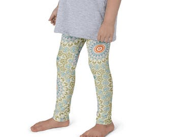 Kids Yoga Leggings, Green and Orange Mandala Art Leggings for Girls, Children's Yoga Pants Activewear