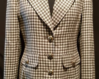 Vintage 1970's 70's tweed check fitted equestrian hacking jacket riding jacket with velvet collar UK size 12