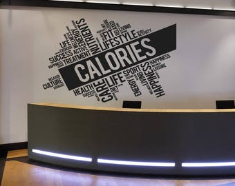 Calories Fitness Wall Decal, Health Inspirational Words Quote Wall Sticker, Motivation Interior Decor Art Mural Fit Lifestyle Decal se138