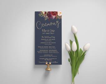Printable Wedding Ceremony Program   Navy Gold Wedding Program Template   Wedding Ceremony  The Lucy Suite