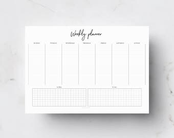Weekly planner, Planner printable, Desk planner, Weekly printable, To do list, A4 planner, Weekly vertical planner, Agenda, Planner, Undated
